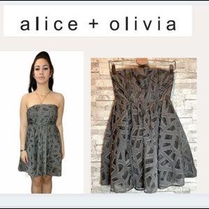 Alice + Olivia Grey Sheer Strapless Dress
